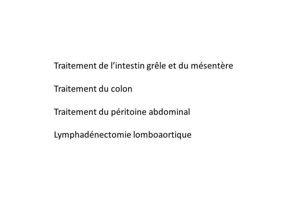 Traitement de lintestin grêle et du mésentère Traitement du colon Traitement du péritoine abdominal Lymphadénectomie lomboaortique