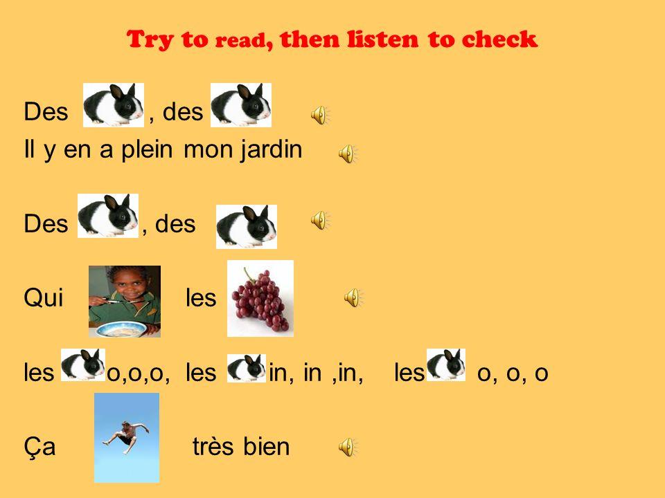 Try to read, then listen to check Des, des Il y en a plein mon jardin Des, des Qui les les o,o,o, les in, in,in, les o, o, o Ça très bien