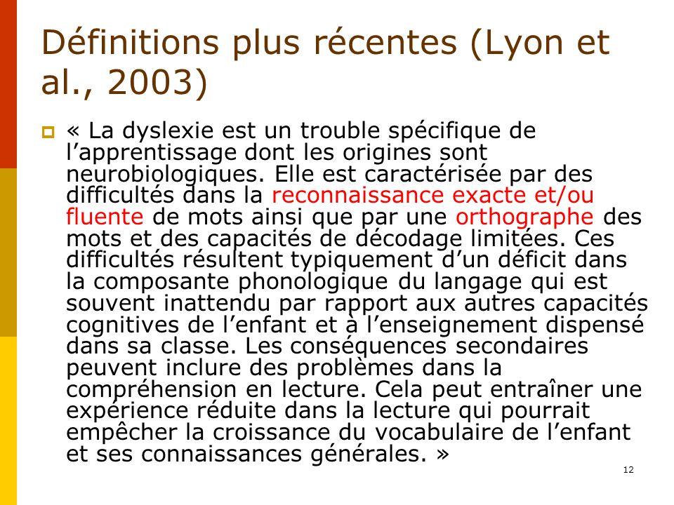 Définitions plus récentes (Lyon et al., 2003) « La dyslexie est un trouble spécifique de lapprentissage dont les origines sont neurobiologiques. Elle
