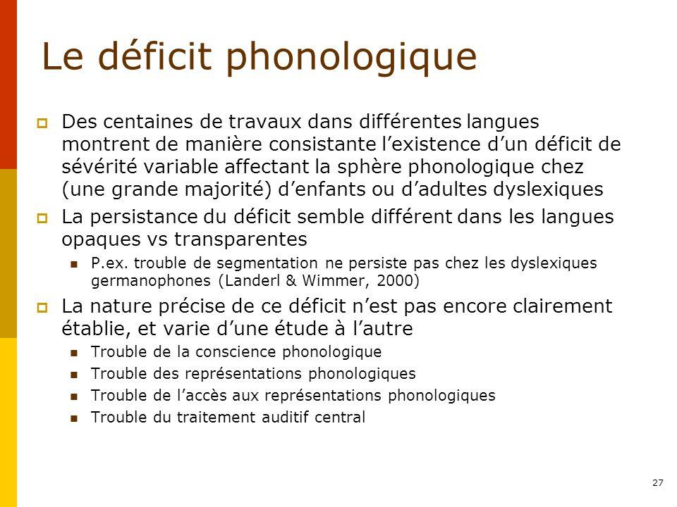 Le déficit phonologique Des centaines de travaux dans différentes langues montrent de manière consistante lexistence dun déficit de sévérité variable