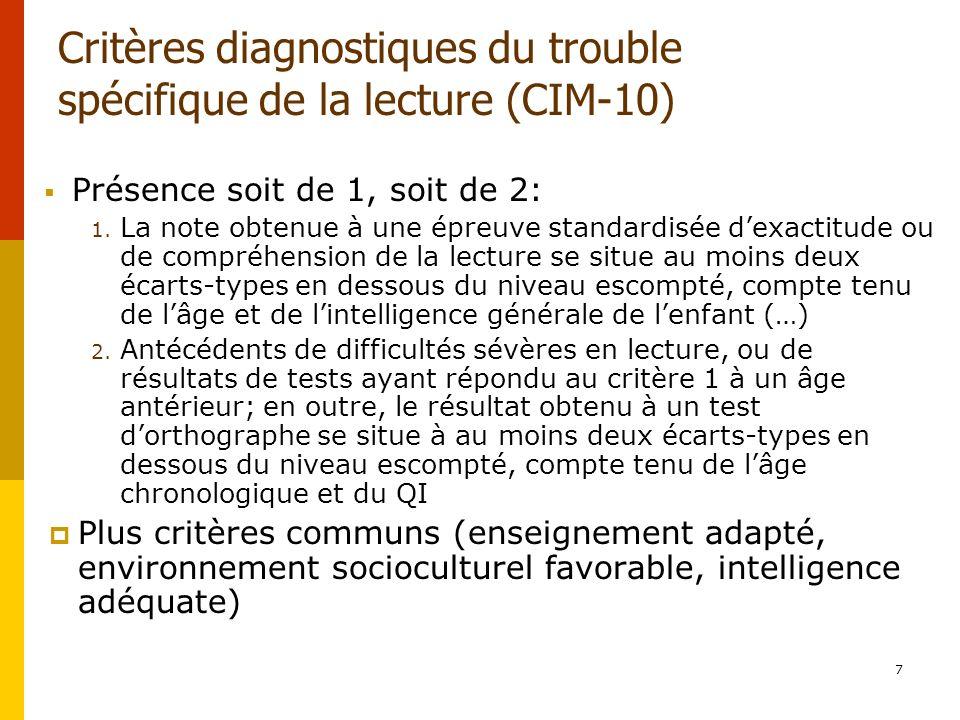 7 Critères diagnostiques du trouble spécifique de la lecture (CIM-10) Présence soit de 1, soit de 2: 1. La note obtenue à une épreuve standardisée dex