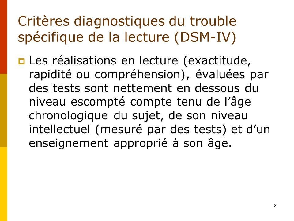Critères diagnostiques du trouble spécifique de la lecture (DSM-IV) Les réalisations en lecture (exactitude, rapidité ou compréhension), évaluées par