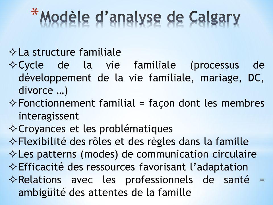 La structure familiale Cycle de la vie familiale (processus de développement de la vie familiale, mariage, DC, divorce …) Fonctionnement familial = fa