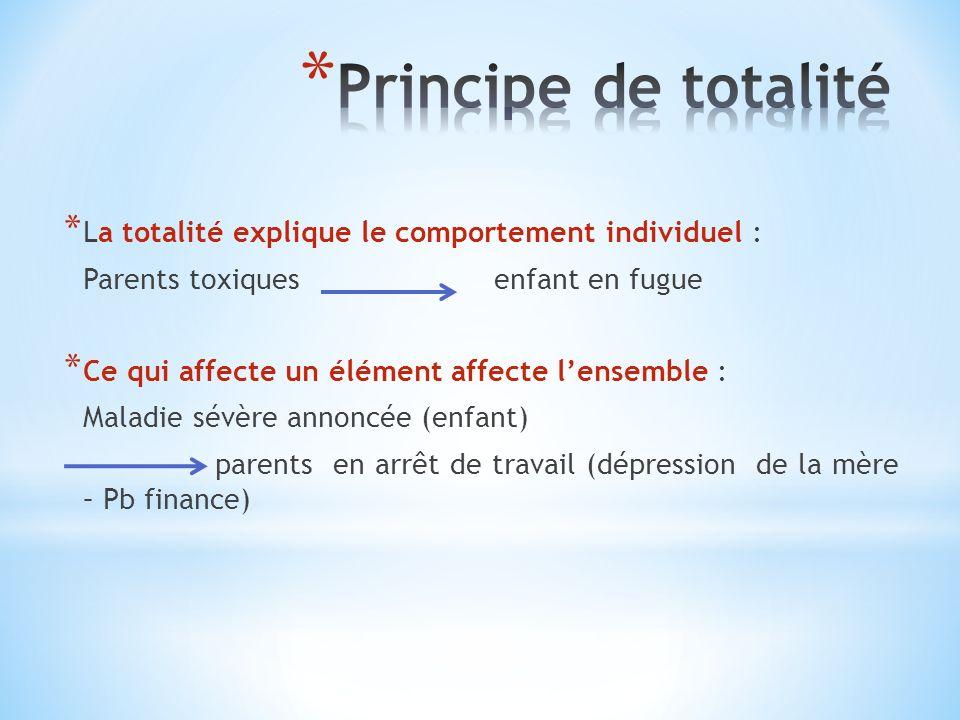 * La totalité explique le comportement individuel : Parents toxiques enfant en fugue * Ce qui affecte un élément affecte lensemble : Maladie sévère an