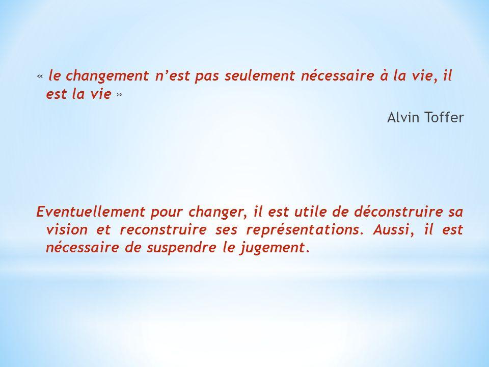 « le changement nest pas seulement nécessaire à la vie, il est la vie » Alvin Toffer Eventuellement pour changer, il est utile de déconstruire sa visi