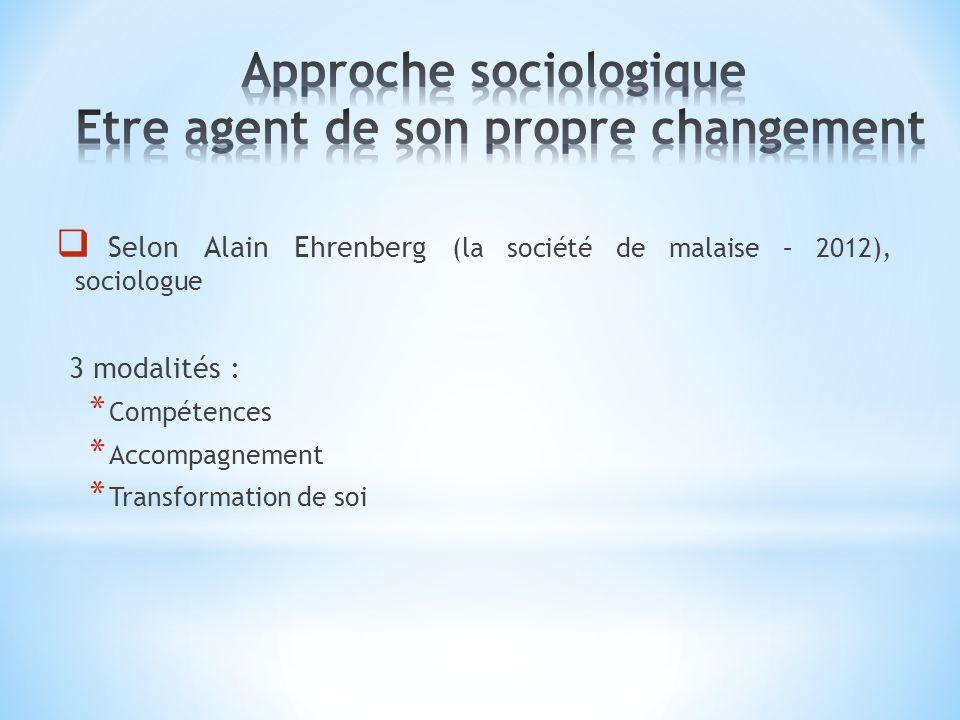Selon Alain Ehrenberg (la société de malaise – 2012), sociologue 3 modalités : * Compétences * Accompagnement * Transformation de soi