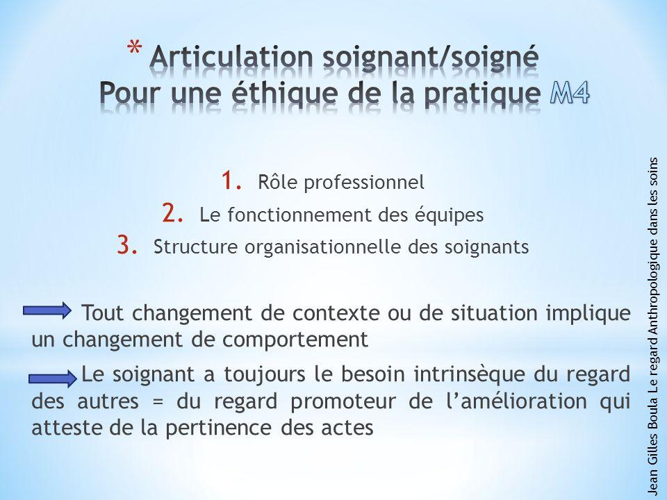 1. Rôle professionnel 2. Le fonctionnement des équipes 3. Structure organisationnelle des soignants Tout changement de contexte ou de situation impliq