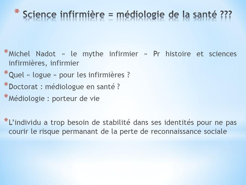 * Michel Nadot « le mythe infirmier » Pr histoire et sciences infirmières, infirmier * Quel « logue » pour les infirmières ? * Doctorat : médiologue e