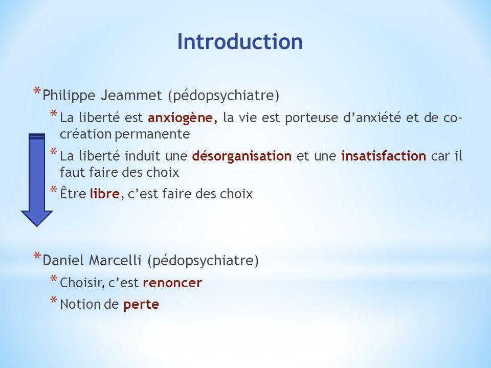 * Philippe Jeammet (pédopsychiatre) * La liberté est anxiogène, la vie est porteuse danxiété et de co- création permanente * La liberté induit une dés