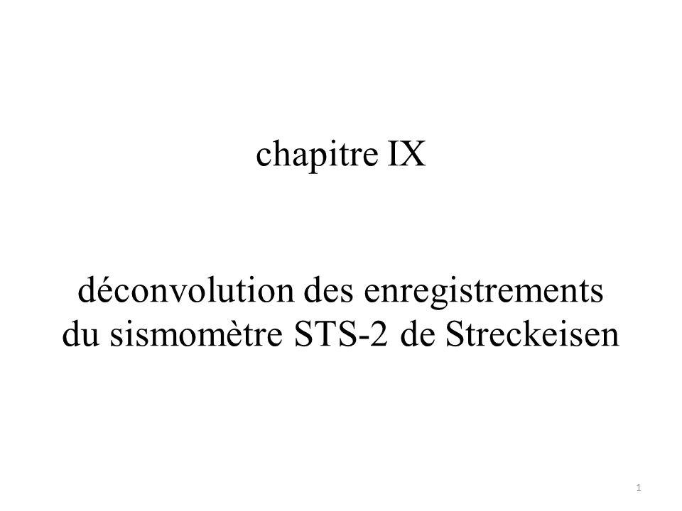 chapitre IX déconvolution des enregistrements du sismomètre STS-2 de Streckeisen 1