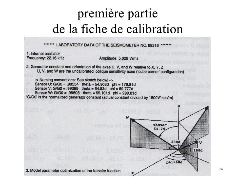 première partie de la fiche de calibration 24