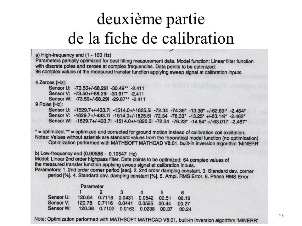 deuxième partie de la fiche de calibration 25