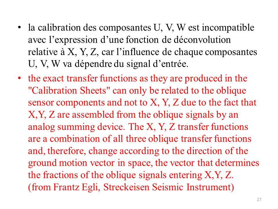 la calibration des composantes U, V, W est incompatible avec lexpression dune fonction de déconvolution relative à X, Y, Z, car linfluence de chaque composantes U, V, W va dépendre du signal dentrée.