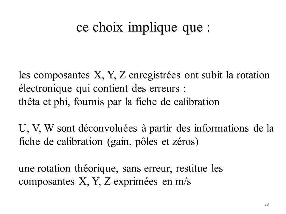 ce choix implique que : 29 les composantes X, Y, Z enregistrées ont subit la rotation électronique qui contient des erreurs : thêta et phi, fournis par la fiche de calibration U, V, W sont déconvoluées à partir des informations de la fiche de calibration (gain, pôles et zéros) une rotation théorique, sans erreur, restitue les composantes X, Y, Z exprimées en m/s