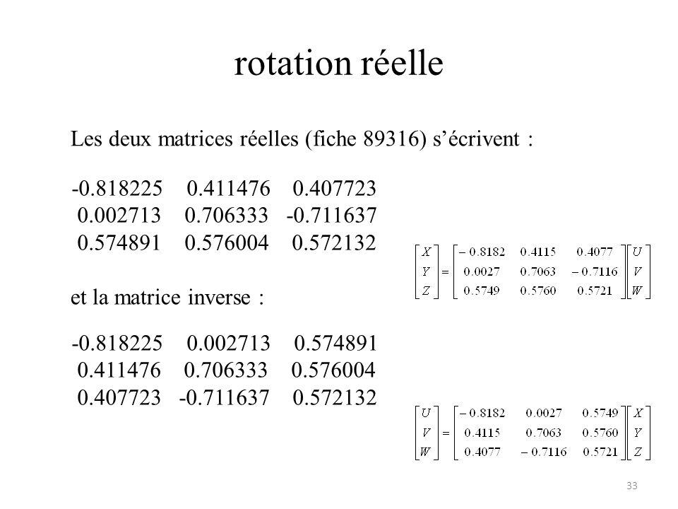 rotation réelle 33 Les deux matrices réelles (fiche 89316) sécrivent : et la matrice inverse : -0.818225 0.002713 0.574891 0.411476 0.706333 0.576004 0.407723 -0.711637 0.572132 -0.818225 0.411476 0.407723 0.002713 0.706333 -0.711637 0.574891 0.576004 0.572132
