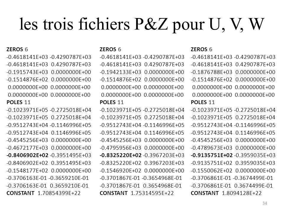 les trois fichiers P&Z pour U, V, W 34 ZEROS 6 -0.4618141E+03 -0.4290787E+03 -0.4618141E+03 0.4290787E+03 -0.1915743E+03 0.0000000E+00 -0.1514876E+02 0.0000000E+00 0.0000000E+00 0.0000000E+00 POLES 11 -0.1023971E+05 -0.2725018E+04 -0.1023971E+05 0.2725018E+04 -0.9512743E+04 -0.1146996E+05 -0.9512743E+04 0.1146996E+05 -0.4545256E+03 0.0000000E+00 -0.4672177E+03 0.0000000E+00 -0.8406902E+02 -0.3951495E+03 -0.8406902E+02 0.3951495E+03 -0.1548177E+02 0.0000000E+00 -0.3706163E-01 -0.3659210E-01 -0.3706163E-01 0.3659210E-01 CONSTANT 1.70854399E+22 ZEROS 6 -0.4618141E+03 -0.4290787E+03 -0.4618141E+03 0.4290787E+03 -0.1942133E+03 0.0000000E+00 -0.1514876E+02 0.0000000E+00 0.0000000E+00 0.0000000E+00 POLES 11 -0.1023971E+05 -0.2725018E+04 -0.1023971E+05 0.2725018E+04 -0.9512743E+04 -0.1146996E+05 -0.9512743E+04 0.1146996E+05 -0.4545256E+03 0.0000000E+00 -0.4795956E+03 0.0000000E+00 -0.8325220E+02 -0.3967203E+03 -0.8325220E+02 0.3967203E+03 -0.1546920E+02 0.0000000E+00 -0.3701867E-01 -0.3654968E-01 -0.3701867E-01 0.3654968E-01 CONSTANT 1.75314595E+22 ZEROS 6 -0.4618141E+03 -0.4290787E+03 -0.4618141E+03 0.4290787E+03 -0.1876788E+03 0.0000000E+00 -0.1514876E+02 0.0000000E+00 0.0000000E+00 0.0000000E+00 POLES 11 -0.1023971E+05 -0.2725018E+04 -0.1023971E+05 0.2725018E+04 -0.9512743E+04 -0.1146996E+05 -0.9512743E+04 0.1146996E+05 -0.4545256E+03 0.0000000E+00 -0.4789673E+03 0.0000000E+00 -0.9135751E+02 -0.3959035E+03 -0.9135751E+02 0.3959035E+03 -0.1550062E+02 0.0000000E+00 -0.3706861E-01 -0.3674499E-01 -0.3706861E-01 0.3674499E-01 CONSTANT 1.8094128E+22