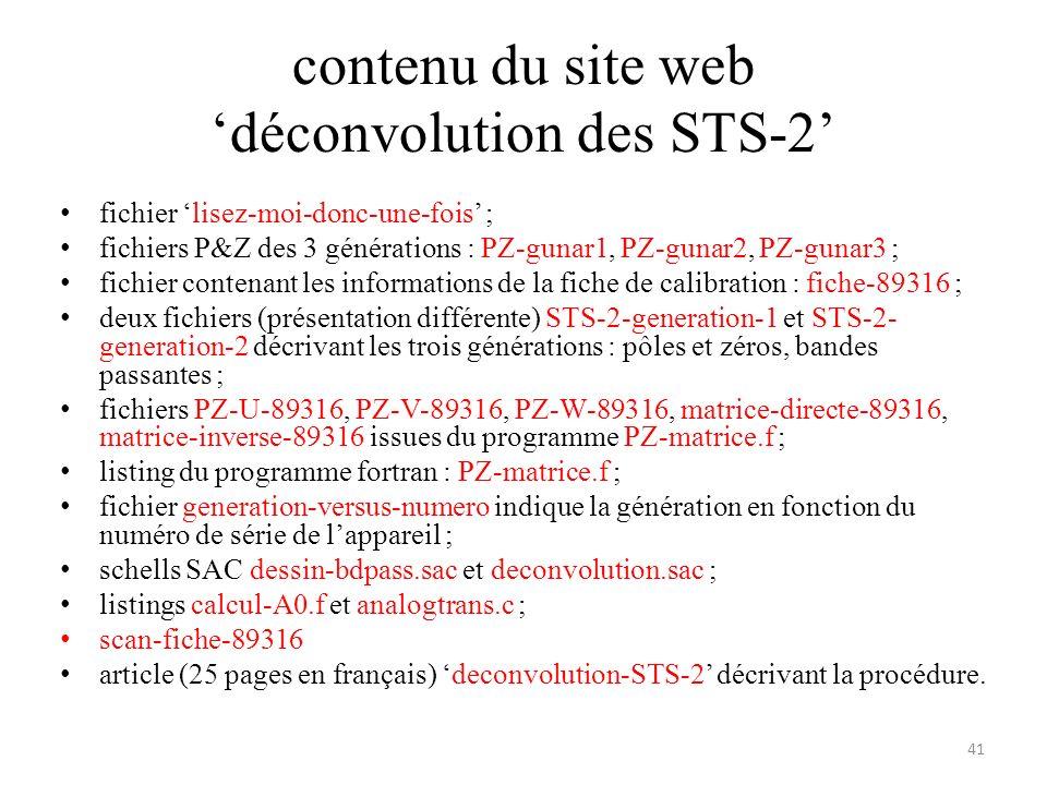 contenu du site web déconvolution des STS-2 fichier lisez-moi-donc-une-fois ; fichiers P&Z des 3 générations : PZ-gunar1, PZ-gunar2, PZ-gunar3 ; fichier contenant les informations de la fiche de calibration : fiche-89316 ; deux fichiers (présentation différente) STS-2-generation-1 et STS-2- generation-2 décrivant les trois générations : pôles et zéros, bandes passantes ; fichiers PZ-U-89316, PZ-V-89316, PZ-W-89316, matrice-directe-89316, matrice-inverse-89316 issues du programme PZ-matrice.f ; listing du programme fortran : PZ-matrice.f ; fichier generation-versus-numero indique la génération en fonction du numéro de série de lappareil ; schells SAC dessin-bdpass.sac et deconvolution.sac ; listings calcul-A0.f et analogtrans.c ; scan-fiche-89316 article (25 pages en français) deconvolution-STS-2 décrivant la procédure.