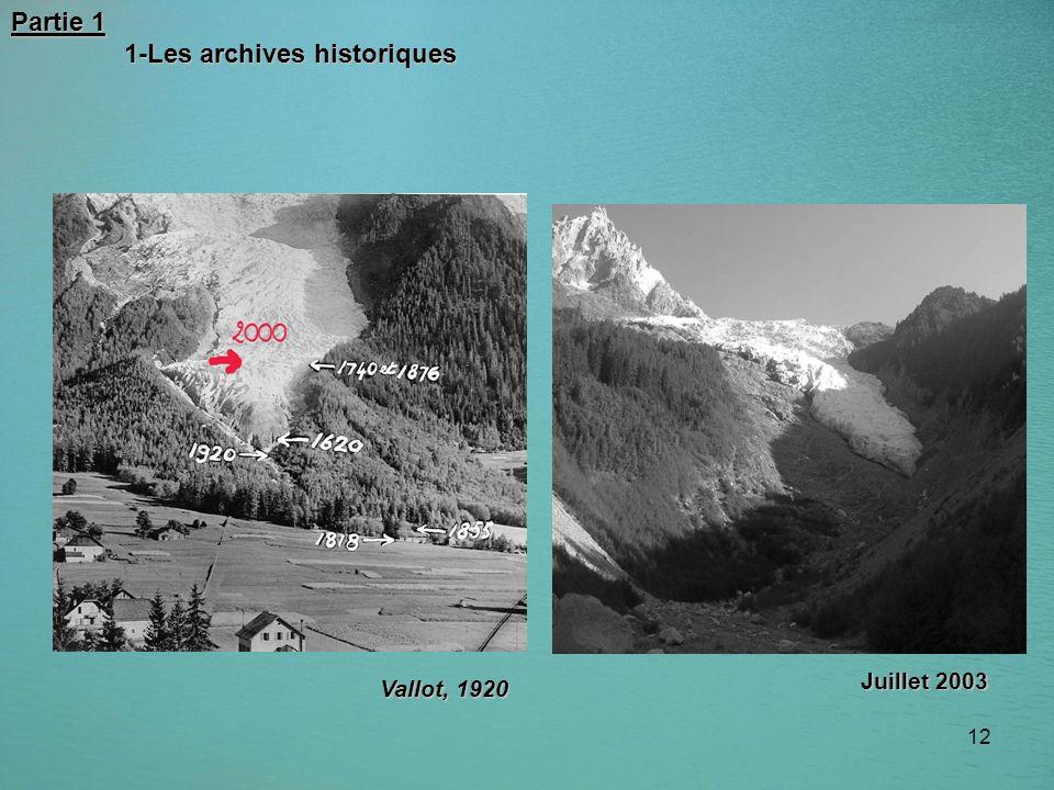 12 Partie 1 1-Les archives historiques 1-Les archives historiques Vallot, 1920 Juillet 2003