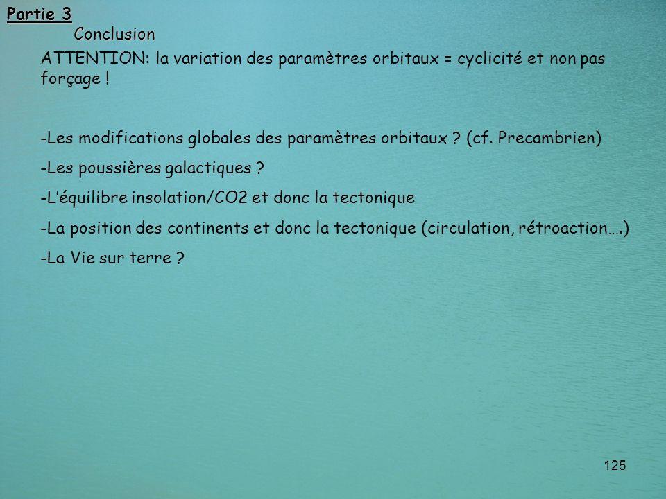 125 ATTENTION: la variation des paramètres orbitaux = cyclicité et non pas forçage ! -Les modifications globales des paramètres orbitaux ? (cf. Precam