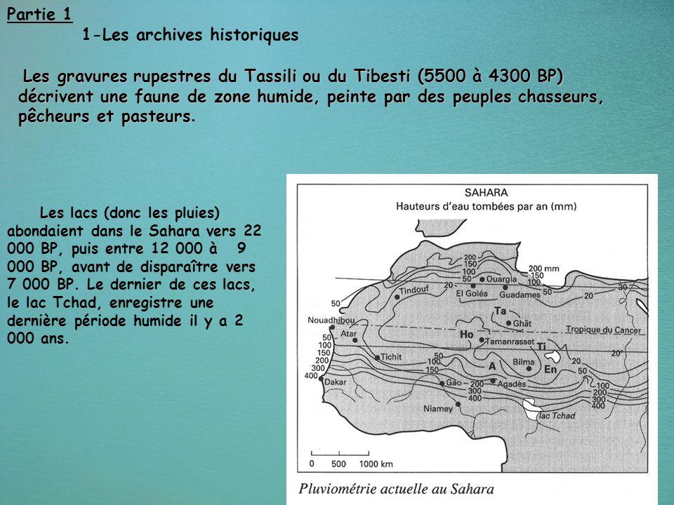 15 Partie 1 1-Les archives historiques Les lacs (donc les pluies) abondaient dans le Sahara vers 22 000 BP, puis entre 12 000 à 9 000 BP, avant de dis