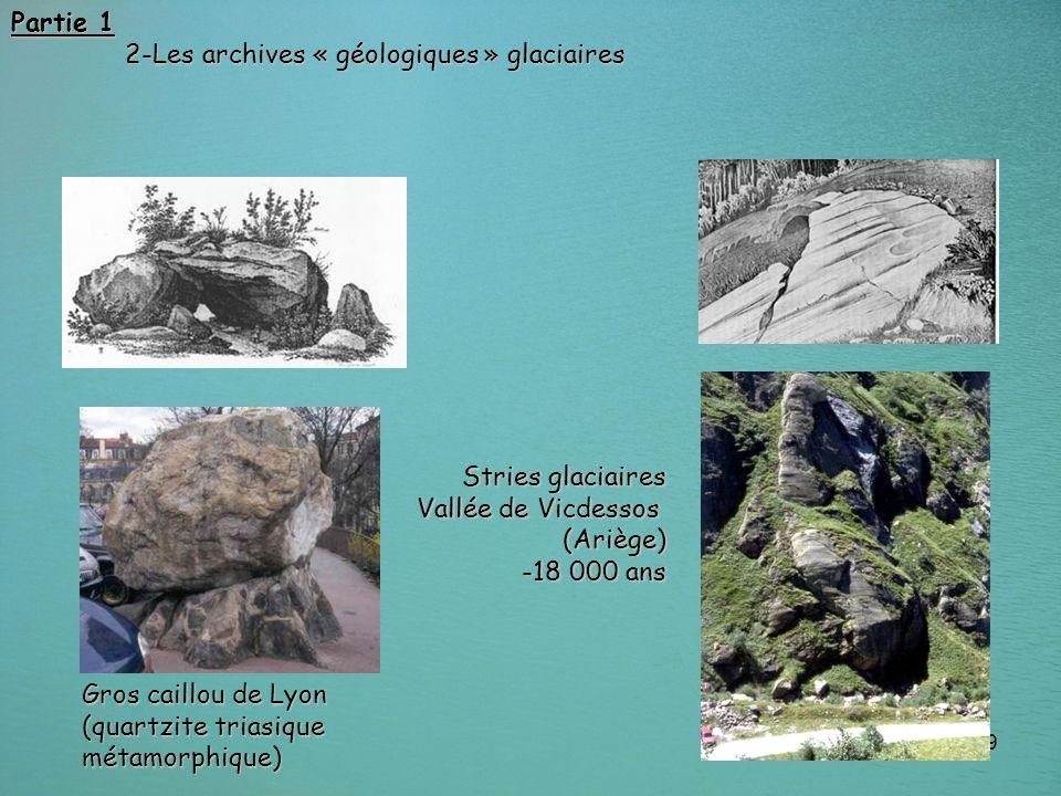 19 Gros caillou de Lyon (quartzite triasique métamorphique) Stries glaciaires Vallée de Vicdessos (Ariège) -18 000 ans Partie 1 2-Les archives « géolo