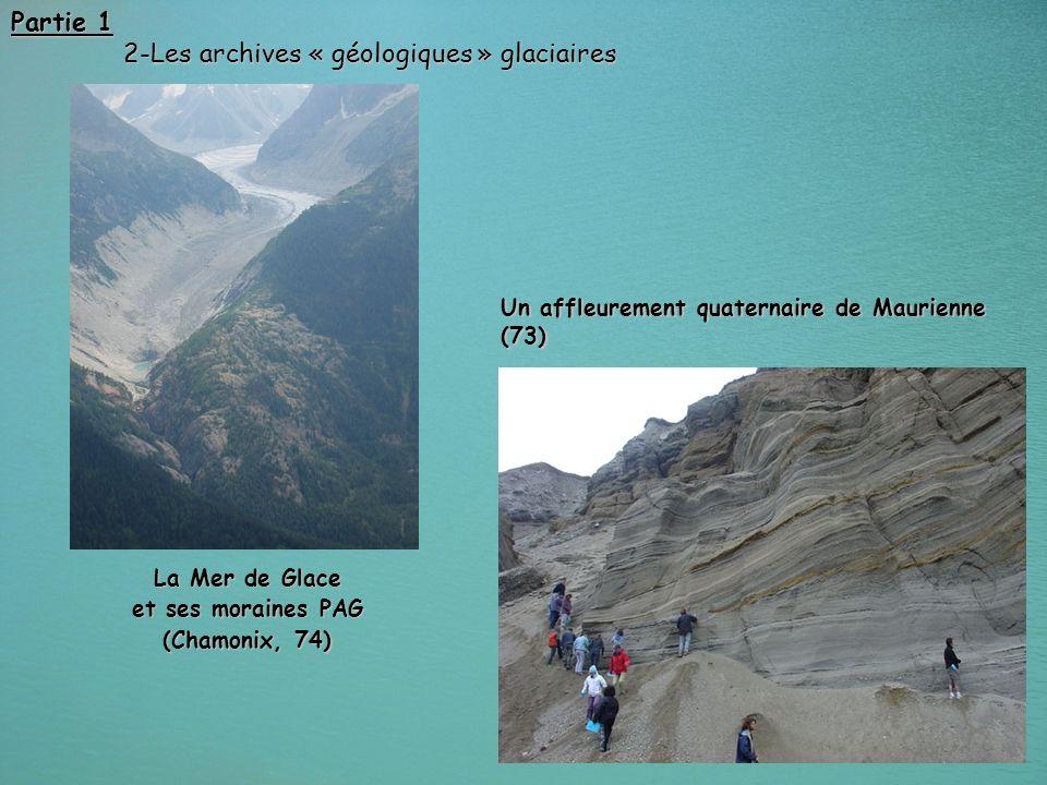 20 Partie 1 2-Les archives « géologiques » glaciaires 2-Les archives « géologiques » glaciaires Un affleurement quaternaire de Maurienne (73) La Mer d