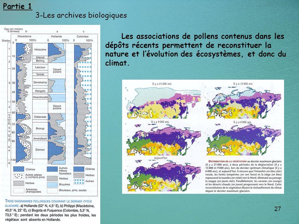 27 Partie 1 3-Les archives biologiques Les associations de pollens contenus dans les dépôts récents permettent de reconstituer la nature et lévolution