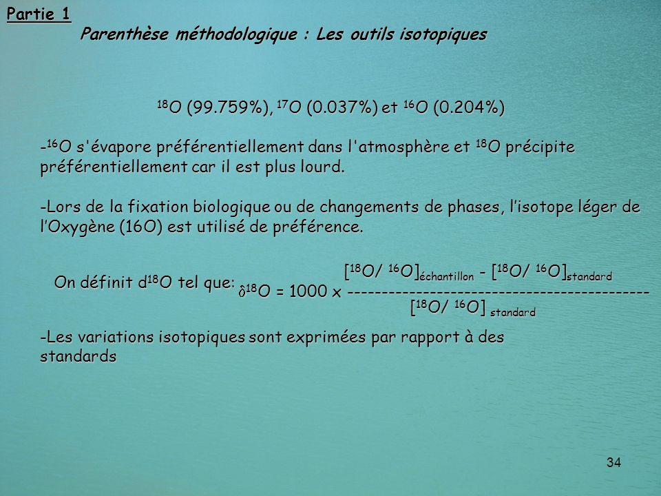 34 Partie 1 Parenthèse méthodologique : Les outils isotopiques Parenthèse méthodologique : Les outils isotopiques 18 O (99.759%), 17 O (0.037%) et 16
