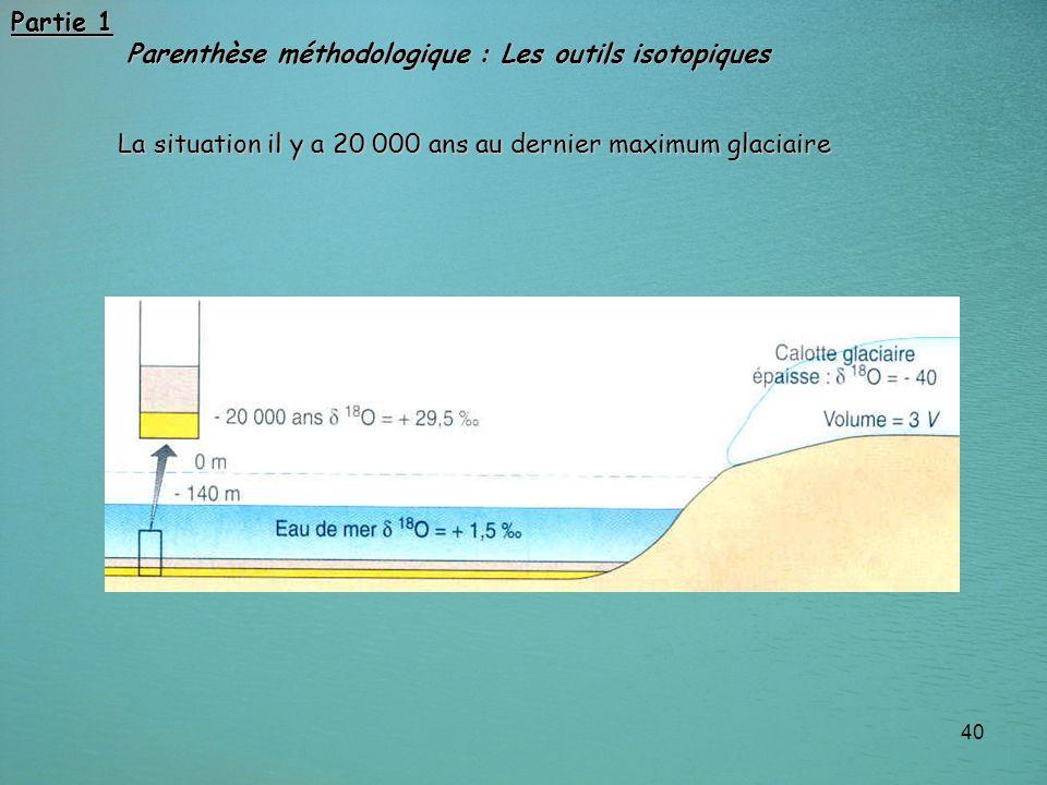 40 La situation il y a 20 000 ans au dernier maximum glaciaire Partie 1 Parenthèse méthodologique : Les outils isotopiques Parenthèse méthodologique :