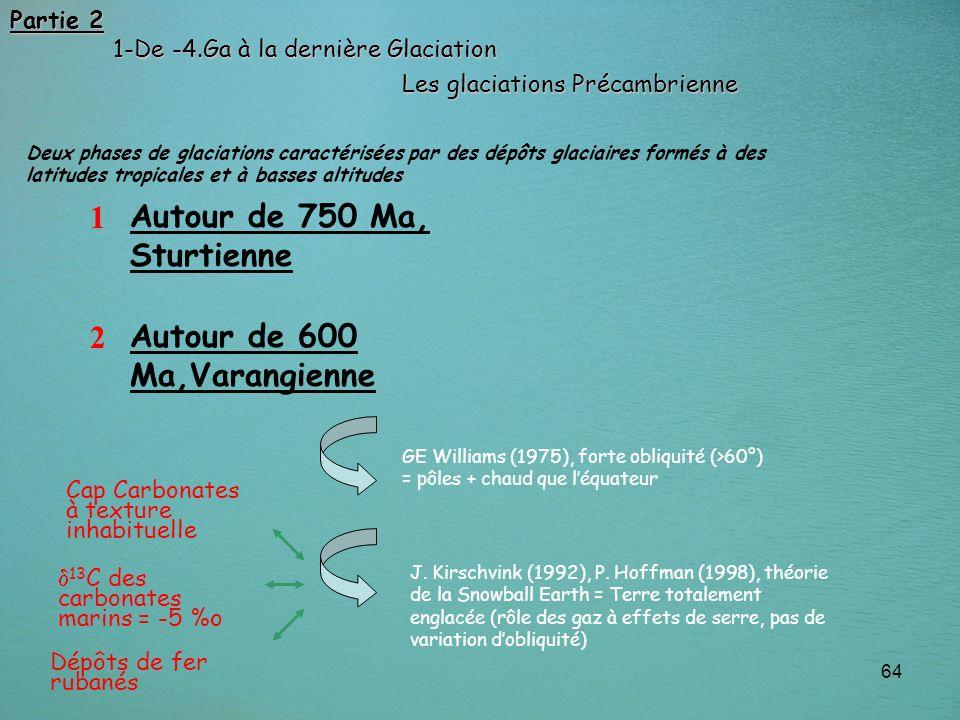64 1 2 Autour de 750 Ma, Sturtienne Autour de 600 Ma,Varangienne GE Williams (1975), forte obliquité (>60°) = pôles + chaud que léquateur J. Kirschvin