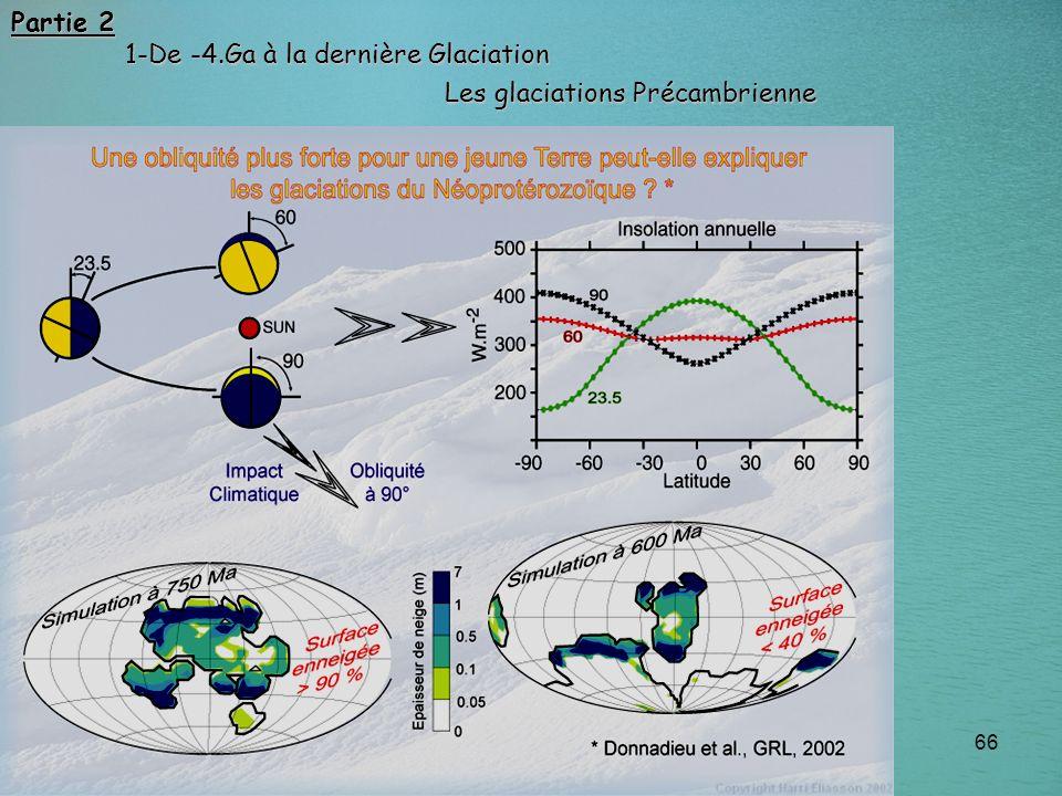 66 Les glaciations Précambrienne Partie 2 1-De -4.Ga à la dernière Glaciation 1-De -4.Ga à la dernière Glaciation