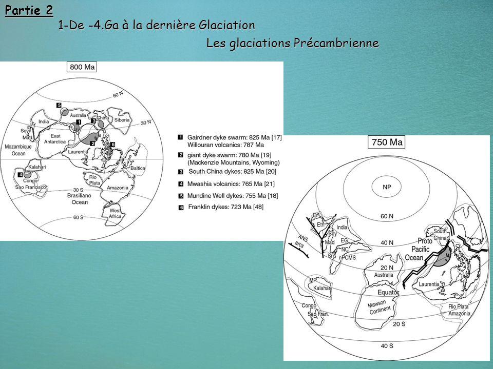 70 Les glaciations Précambrienne Partie 2 1-De -4.Ga à la dernière Glaciation 1-De -4.Ga à la dernière Glaciation
