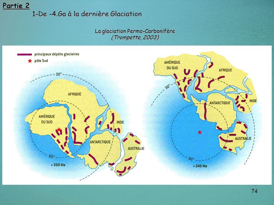 74 Partie 2 1-De -4.Ga à la dernière Glaciation 1-De -4.Ga à la dernière Glaciation La glaciation Permo-Carbonifère (Trompette, 2003)