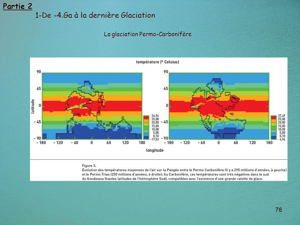 76 Partie 2 1-De -4.Ga à la dernière Glaciation 1-De -4.Ga à la dernière Glaciation La glaciation Permo-Carbonifère
