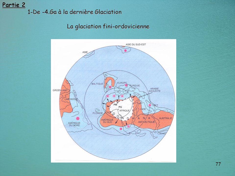 77 Partie 2 1-De -4.Ga à la dernière Glaciation 1-De -4.Ga à la dernière Glaciation La glaciation fini-ordovicienne