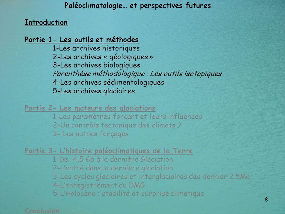 8 Paléoclimatologie… et perspectives futures Introduction Partie 1- Les outils et méthodes 1-Les archives historiques 2-Les archives « géologiques » 3
