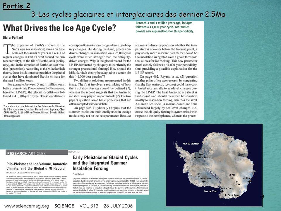 86 Partie 2 3-Les cycles glaciaires et interglaciaires des dernier 2.5Ma