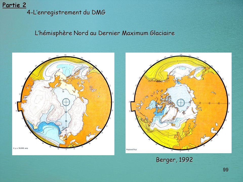 99 Lhémisphère Nord au Dernier Maximum Glaciaire Partie 2 4-Lenregistrement du DMG Berger, 1992