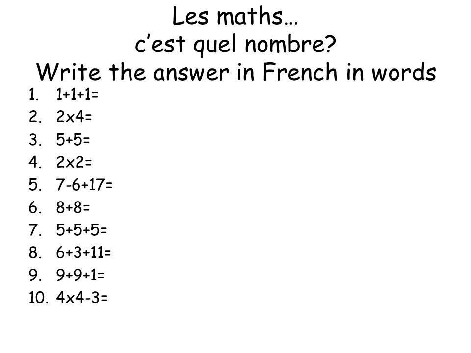 Cest quel nombre.Match them up.