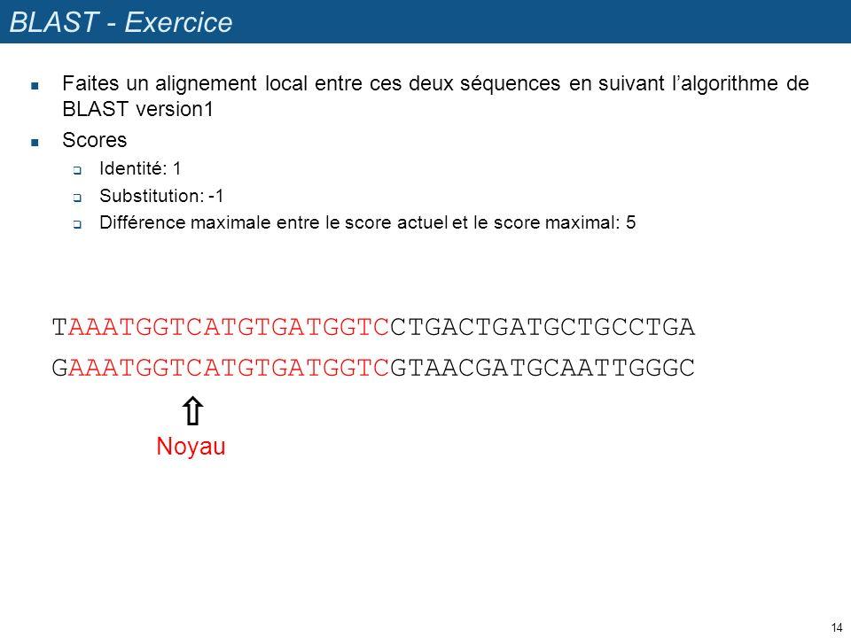 BLAST - Exercice Faites un alignement local entre ces deux séquences en suivant lalgorithme de BLAST version1 Scores Identité: 1 Substitution: -1 Différence maximale entre le score actuel et le score maximal: 5 14 TAAATGGTCATGTGATGGTCCTGACTGATGCTGCCTGA GAAATGGTCATGTGATGGTCGTAACGATGCAATTGGGC Noyau