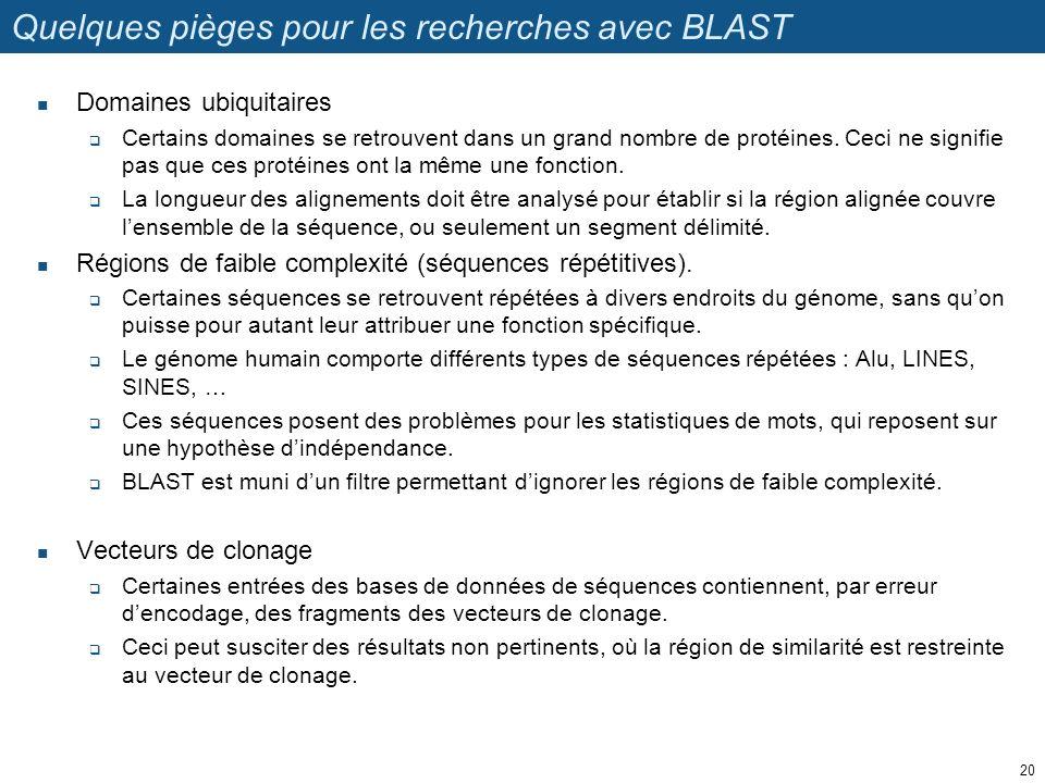 Quelques pièges pour les recherches avec BLAST Domaines ubiquitaires Certains domaines se retrouvent dans un grand nombre de protéines.
