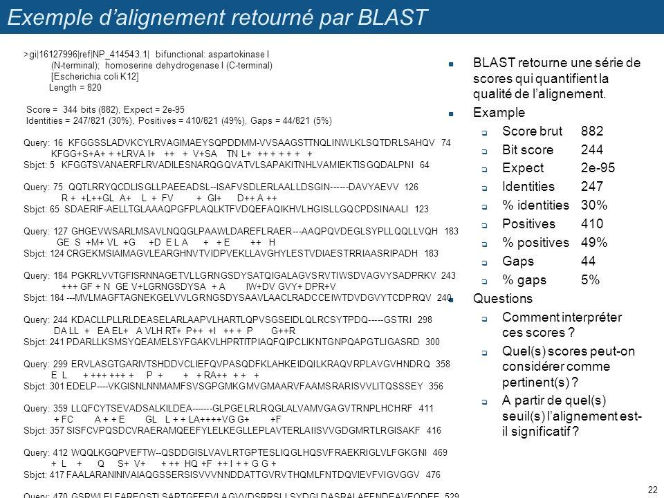 Exemple dalignement retourné par BLAST BLAST retourne une série de scores qui quantifient la qualité de lalignement.