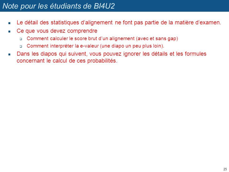Note pour les étudiants de BI4U2 Le détail des statistiques dalignement ne font pas partie de la matière dexamen.