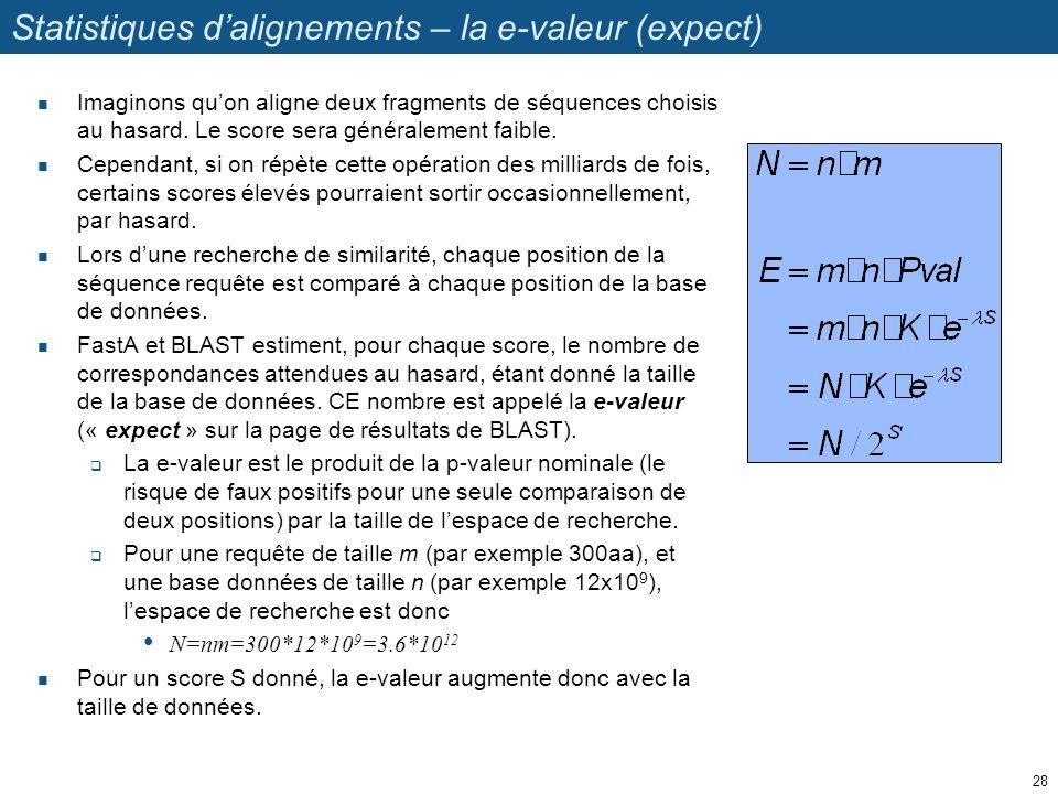 Statistiques dalignements – la e-valeur (expect) Imaginons quon aligne deux fragments de séquences choisis au hasard.