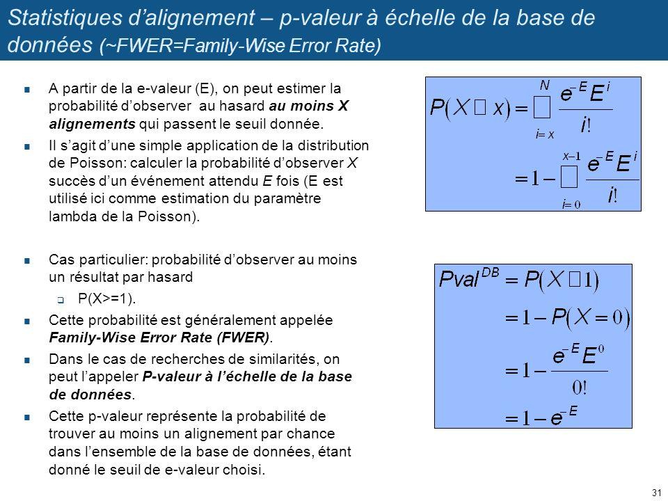 Statistiques dalignement – p-valeur à échelle de la base de données (~FWER=Family-Wise Error Rate) A partir de la e-valeur (E), on peut estimer la probabilité dobserver au hasard au moins X alignements qui passent le seuil donnée.