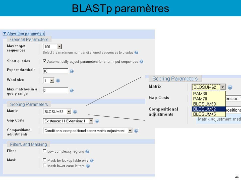BLASTp paramètres 44