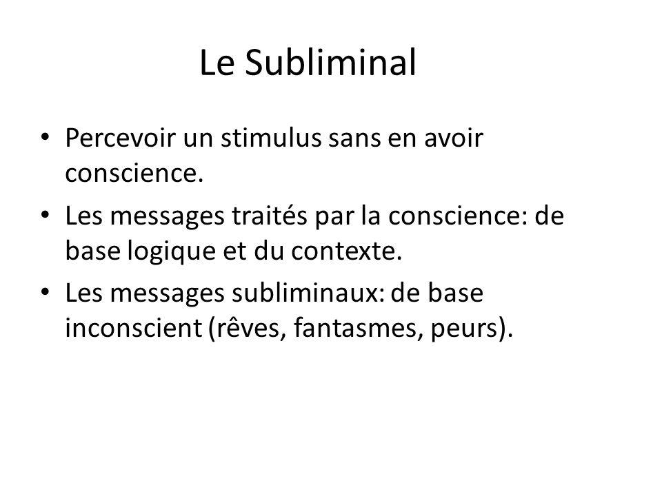 Le Subliminal Percevoir un stimulus sans en avoir conscience. Les messages traités par la conscience: de base logique et du contexte. Les messages sub