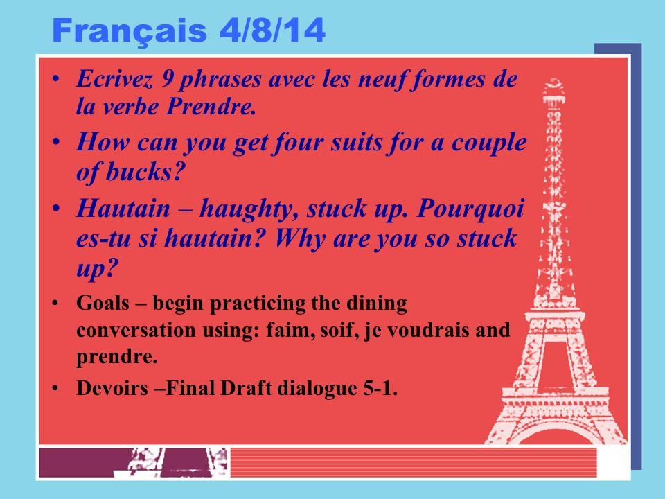 Français 4/9/14 Ecrivez 9 phrases avec les neuf formes de la verbe avoir.