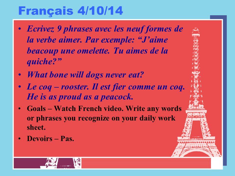 Français 4/11/14 Ecrivez 9 phrases avec les neuf formes de la verbe prendre.