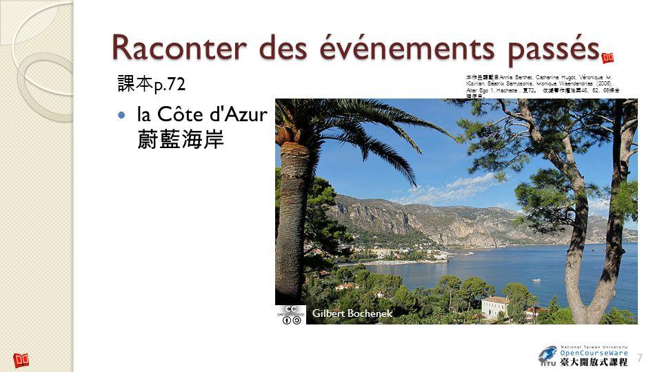 Raconter des événements passés p.72 la Côte d'Azur 7 Gilbert Bochenek Annie Berthet, Catherine Hugot, Véronique M. Kizirian, Béatrix Sampsonis, Moniqu
